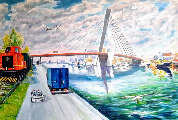 M♡DOC Ponte strallato con motrice ferroviaria, mezzi stradali, imbarcazioni e gabbiani alla Darsena del Porto di Marghera sul Canale Ovest ~ By Michele Serena