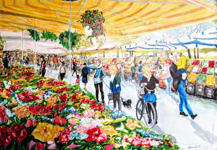 M♡DOC - Persone tra i banchi di fiori, frutta e ortaggi al Mercato di Marghera - By Michele Serena