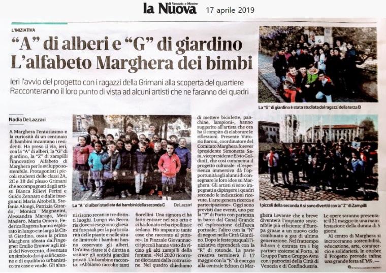 17 aprile 2019 - articolo La Nuova Venezia - Alfabeto di Marghera forever per lo Sviluppo Sostenibile 2019.jpg