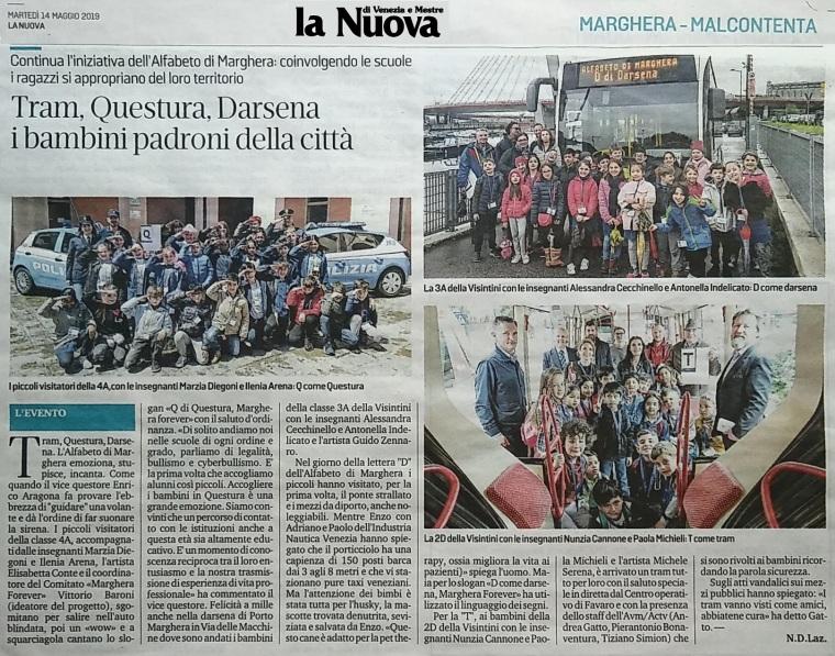 14 maggio 2019 rassegna stampa - articolo La Nuova Venezia - Alfabeto di Marghera forever per lo Sviluppo Sostenibile 2019