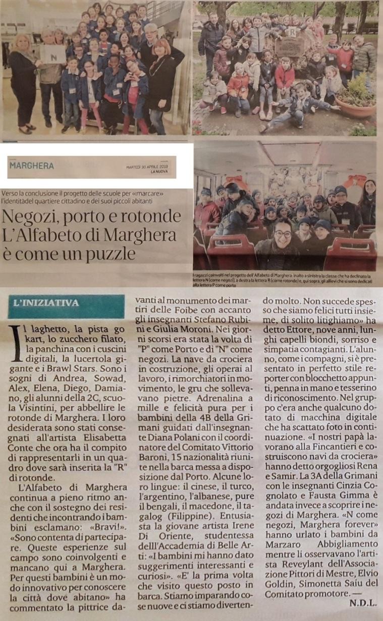 30 aprile 2019 - articolo La Nuova Venezia - Alfabeto di Marghera forever per lo Sviluppo Sostenibile 2019 ISTITUTO COMPRENSIVO GRIMANI - VISINTINI.jpg