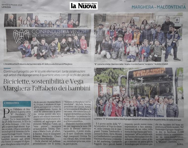 9 maggio 2019 - articolo La Nuova Venezia - Alfabeto di Marghera forever per lo Sviluppo Sostenibile 2019.jpg