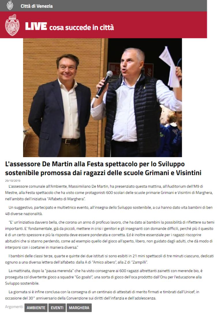 29.10.2019 Città di Venezia - ALFABETO DI MARGHERA - Assessore Massimiliano De Martin Sviluppo Sostenibile