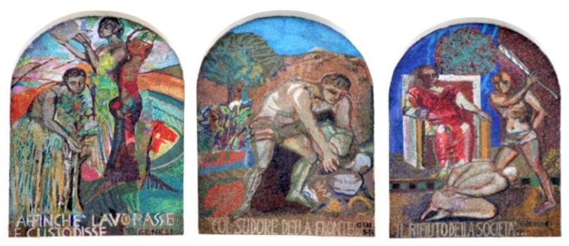 1 Marghera - Mosaici Poema Cristiano del Lavoro - don Armando Berna Chiesa Gesù Lavoratore Ca' Emiliani Rana