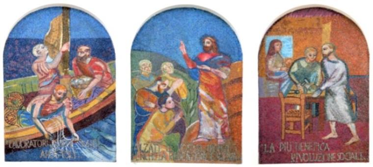 2 Marghera - Mosaici Poema Cristiano del Lavoro - don Armando Berna Chiesa Gesù Lavoratore Ca' Emiliani Rana