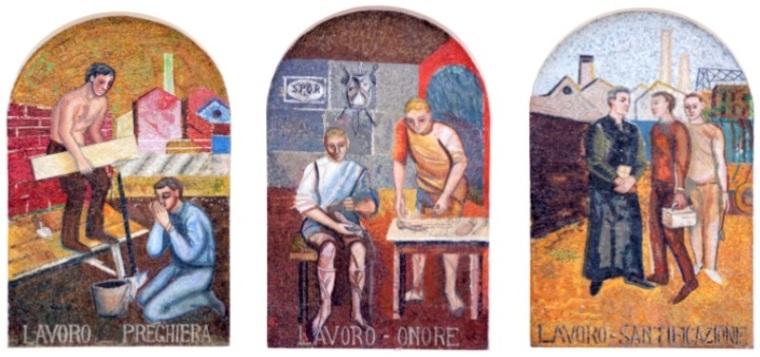3 Marghera - Mosaici Poema Cristiano del Lavoro - don Armando Berna Chiesa Gesù Lavoratore Ca' Emiliani Rana