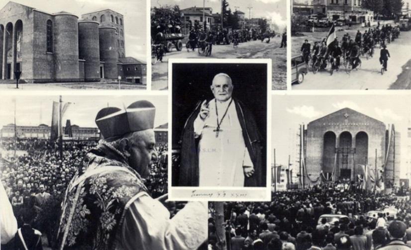 Marghera 1 maggio 1954, inaugurazione Chiesa Gesù Lavoratore Papa Giovanni XXIII