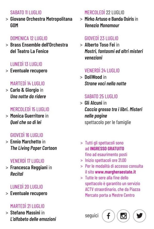 Marghera Estate 2020 www.margheraestate.it SPETTACOLI PROGRAMMA COMPLETO
